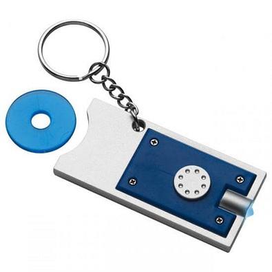 Schlüsselleuchte mit Einkaufswagenchip, blau