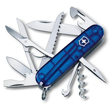 VICTORINOX Taschenmesser Huntsman, 15 Funktionen, blau-transparent