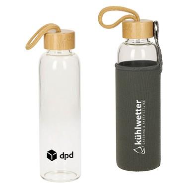 Glasflasche mit Hülle Bamboo, 550 ml, transparent