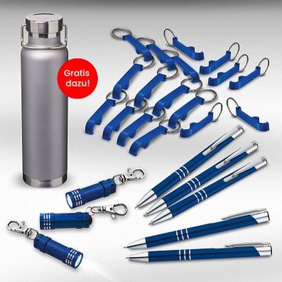 Werbe-Sparset Metall, 321-tlg., inkl. Gravur, blau