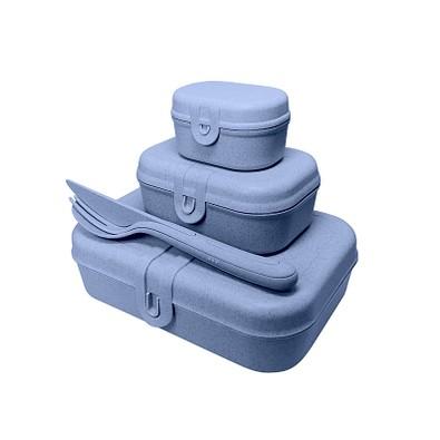 koziol Lunchbox-Set Pascal Ready mit Klikk-Besteck, organic blue