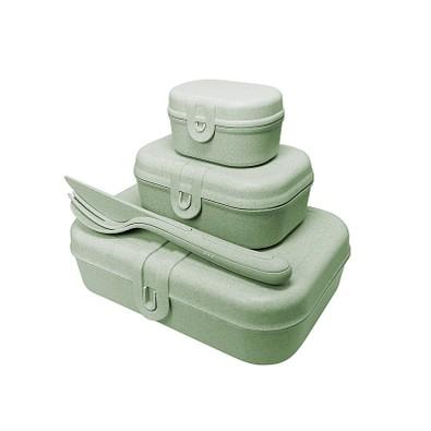 koziol Lunchbox-Set Pascal Ready mit KLIKK-Besteck, grün