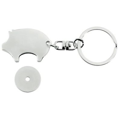 METMAXX® Schlüsselanhänger mit Chip, Glücksschwein, silber