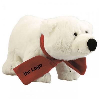 Softplüsch-Eisbär Freddy, mit Schal Rot